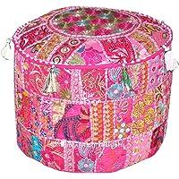 Indiase Boheemse patchwork poef, poef, poef, poef, voetenkruk, ronde poef, poef, poef, voetenbank, zitzak, vloerkussen…