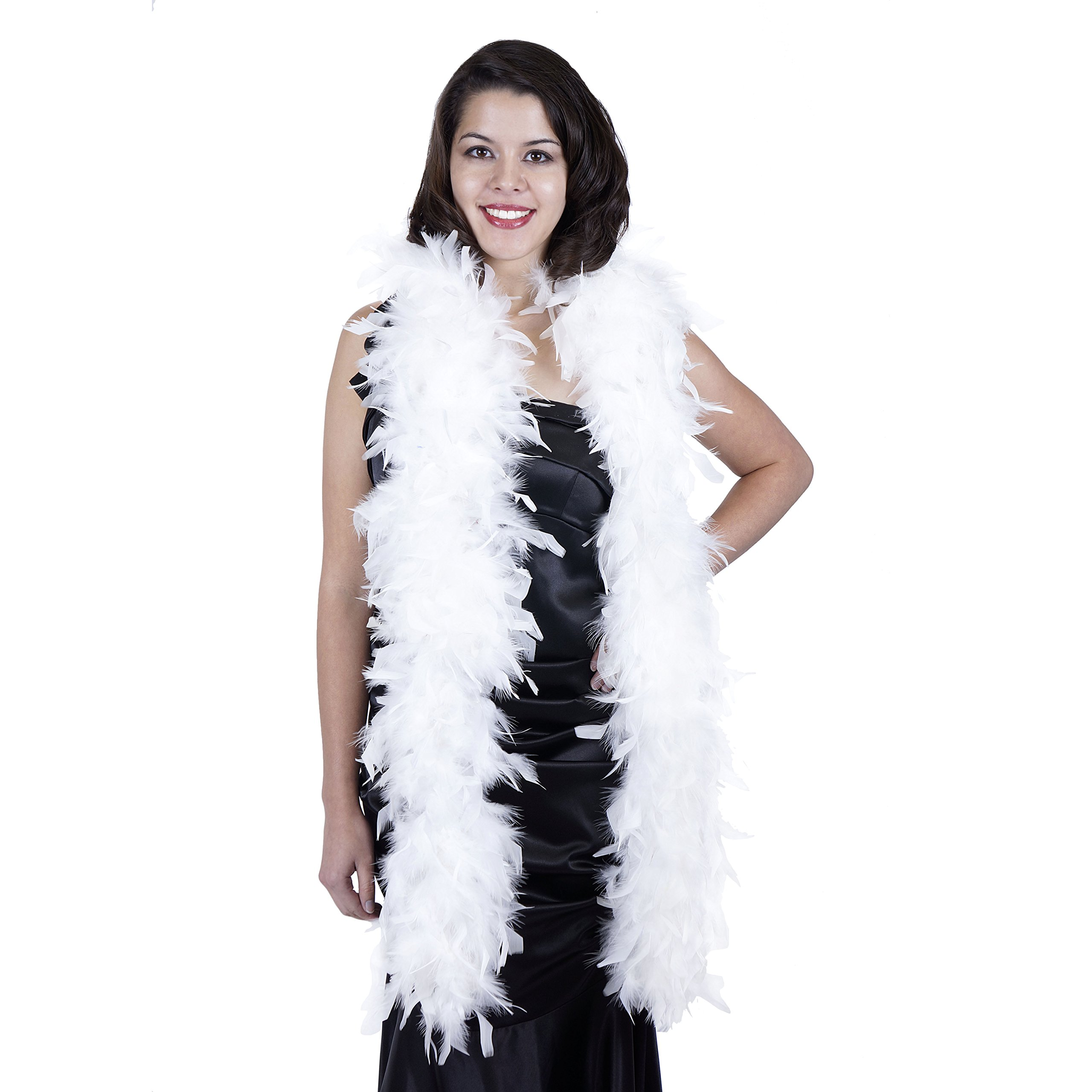 ZUCKER Heavy Weight Chandelle Feather boa Solid Colors - White -7.5''