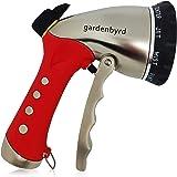 Gardenbyrd Hose Nozzle – Metal Garden Hose Nozzle with Pressure Flow Control (10 Pattern, Black, Red)