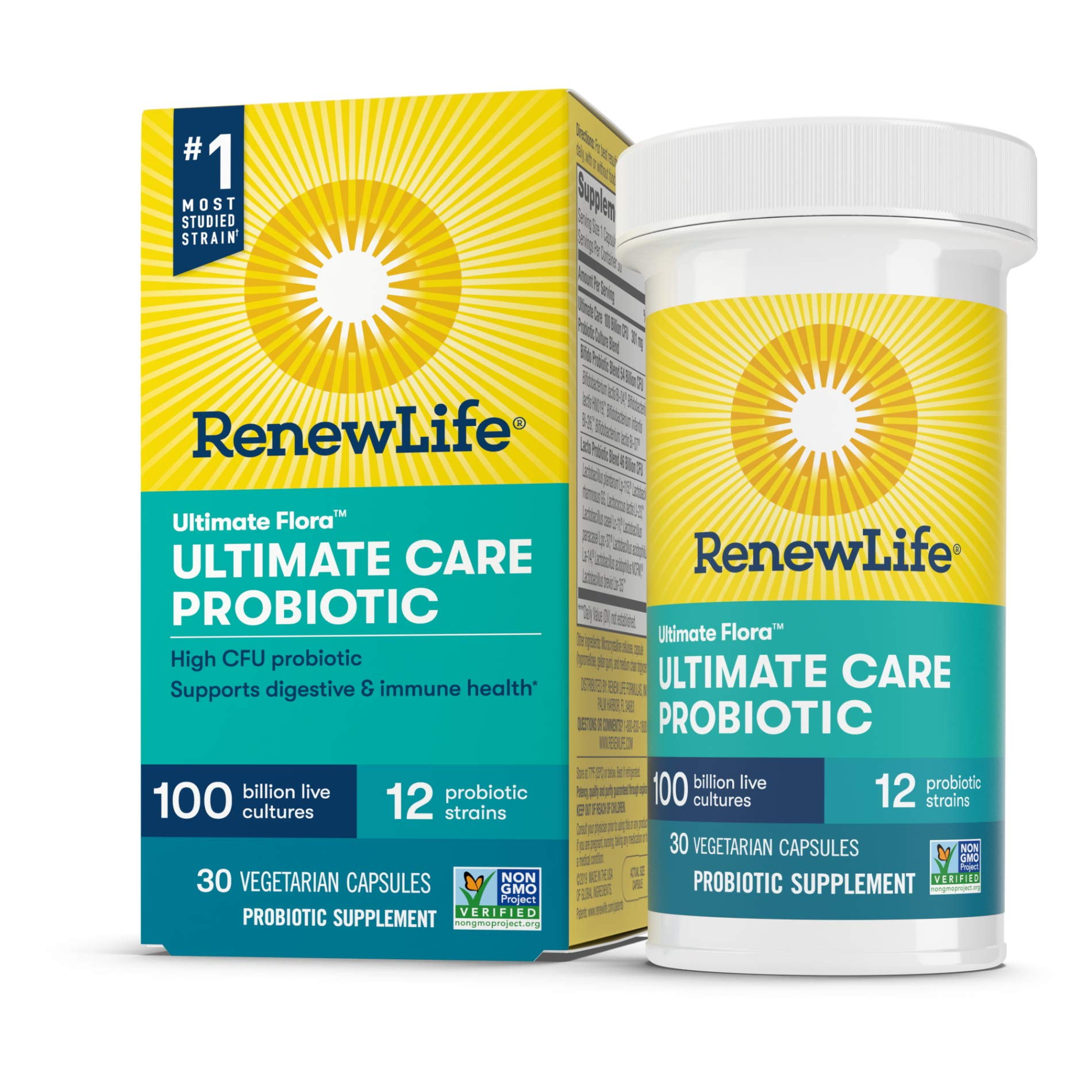 Renew Life Adult Probiotic - Ultimate Flora Ultimate Care Probiotic Supplement - Gluten, Dairy & Soy Free - 100 Billion CFU - 30 Vegetarian Capsules