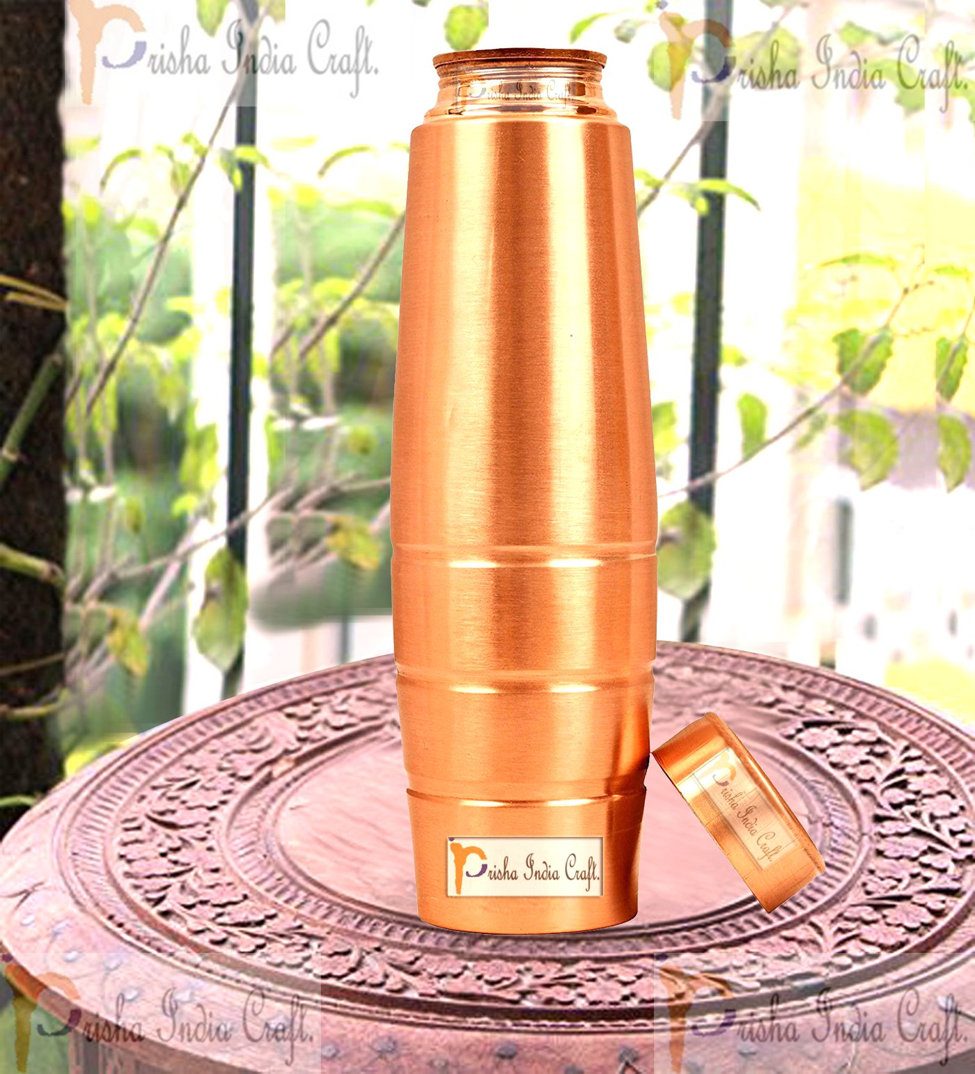 Prisha India Craft New Design Stylish Copper Bottle with Grip, Storage & Travelling Purpose, Yoga Ayurveda Healing, 1000 ML