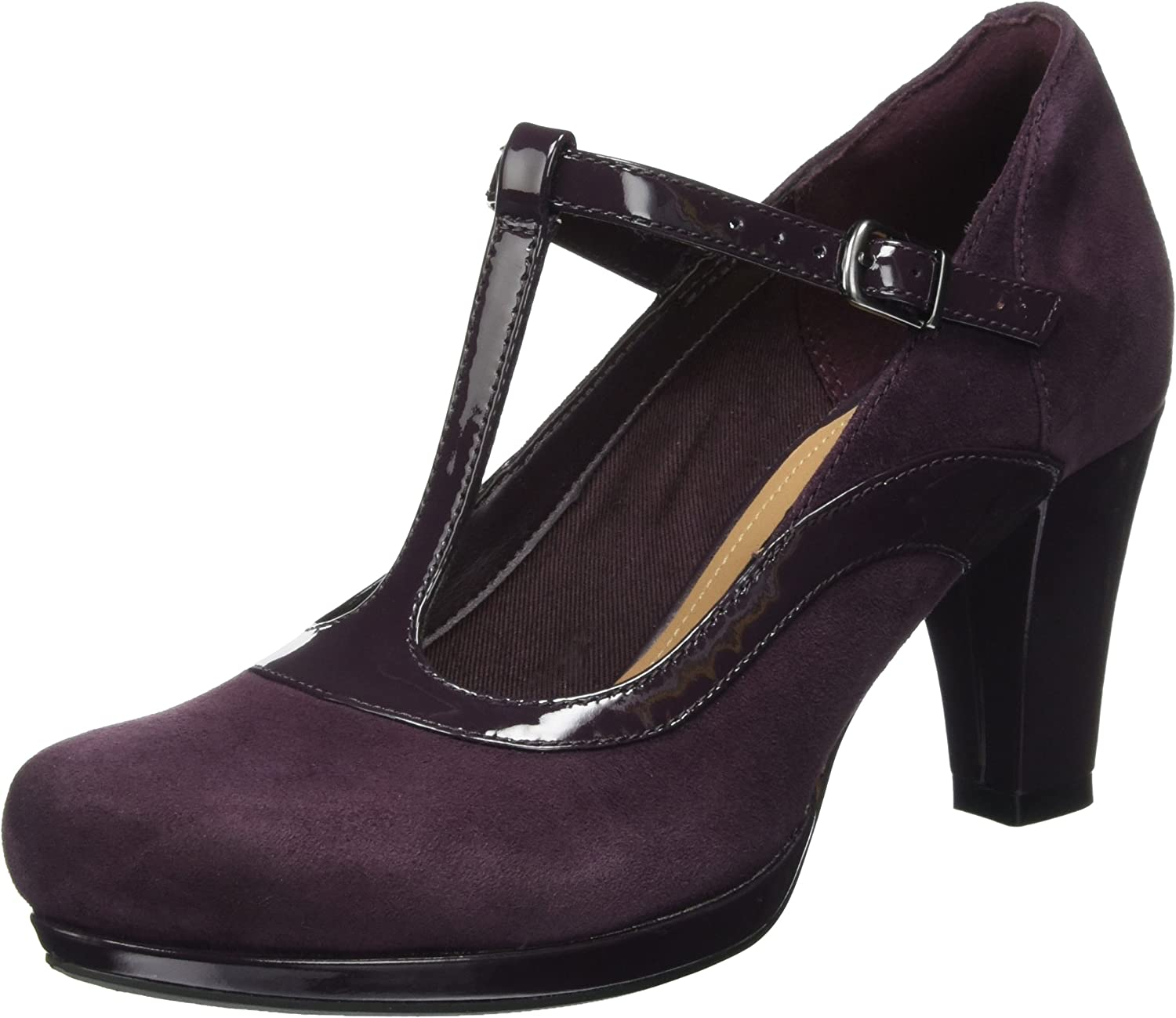 Ladies Clarks Chorus Pitch Black Or Aubergine Suede Leather T-Bar Court Shoes