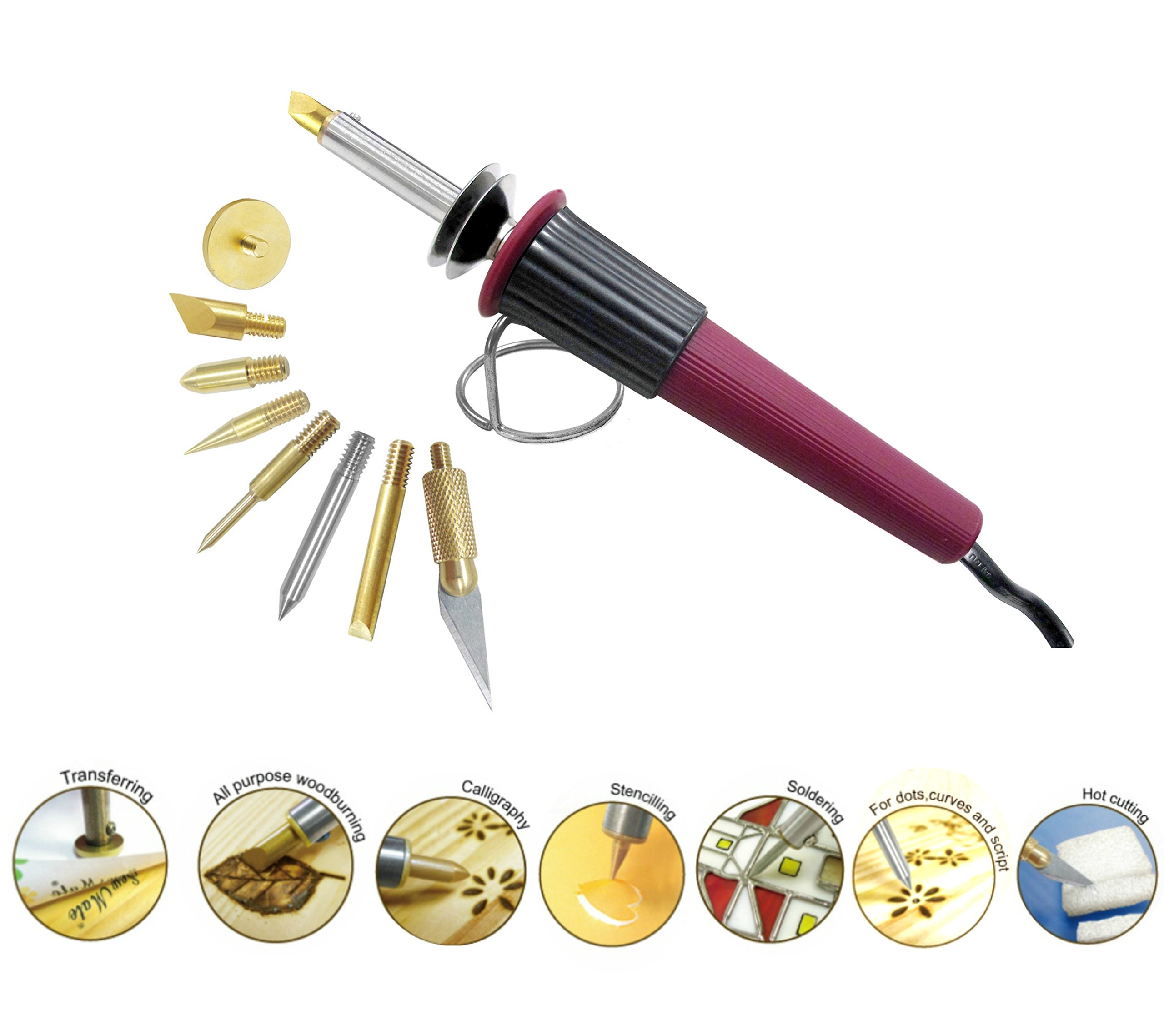 Woodburning Soldering Tool Set 8 Interchangeable Tips All Purpose Leather Paper Crafting Stamping Stencil Hot Knife Cutting