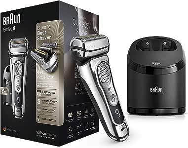 Braun Series 9 9395cc Afeitadora Eléctrica Hombre Última Generación: Afeitadora Barba con Estación Limpieza y Carga Clean&Charge, Funda de Piel, Cromo: Amazon.es ...