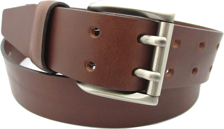 Cinturón para hombre - Hecho a mano con piel de alta calidad - Doble Hebilla - Disponible en Negro y Marrón