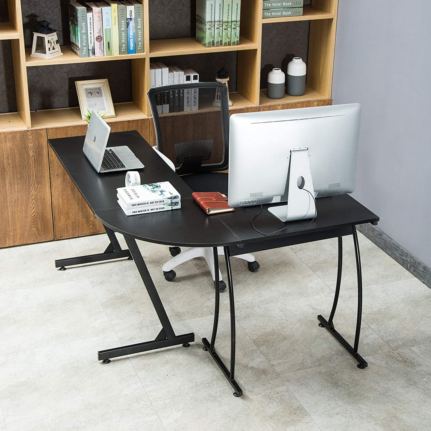 FitnessClub L-Shaped Corner Computer Desk PC Laptop Wood Table Workstation For Studio Home Office Workstation and School Furniture Black Board Steel Frame SWBUK