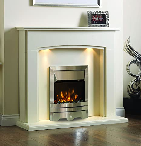 Fireplaces & Accessories ELECTRIC CREAM SILVER PEBBLE FIRE SURROUND BLACK LIGHTS FIREPLACE SUITE BIG 54