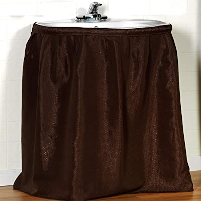 "Sweet Home Collection Sink Drape, Strong Polyester, Diamond Embossed Pattern, Long Lasting Includes Rugged Adhesive with Easy Installation for Most Sinks & Decors, Standard (54"" x 36""), Brown: Home & Kitchen"