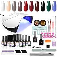 Shelloloh 10st gellack nagelsalong set med 36w dubbel ljuskälla lampa färg gel set UV gel polish set för nageldesign