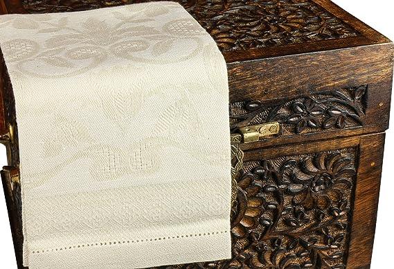 tessitura Pardi damasco marfil Misto Lino pequeño italiano - Toalla de Invitados: Amazon.es: Hogar