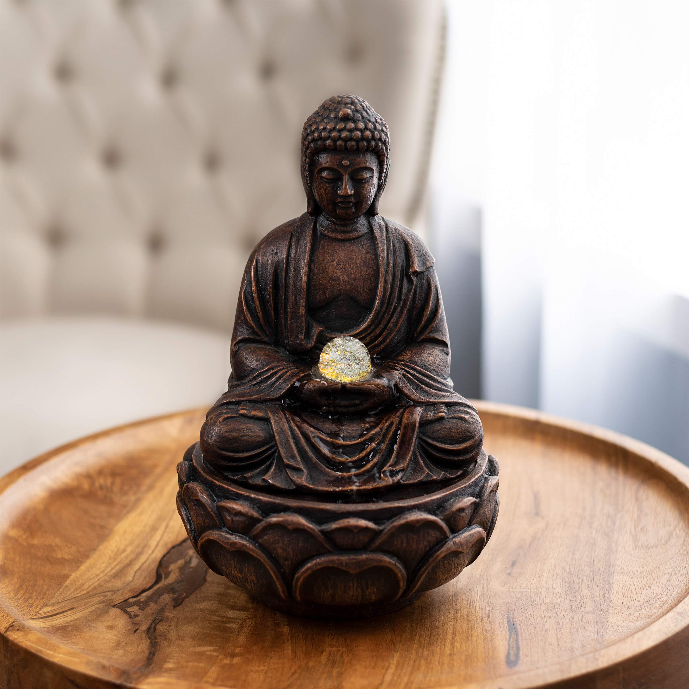 Pure Garden 50-LG5065 Tabletop Water Fountain-Sitting Buddha Statue with Rolling Glass Ball, Multi-Colored LED Lights Electric Pump & Soothing Waterfall