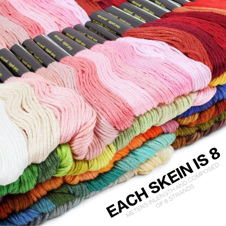 100 Farben Amacoam Stickgarn Set Embroidery Floss Sticken Multi Farben Weicher Baumwolle Perfekt f/ür Freundschaftsb/änder Armb/änder Bracelets Stickerei Arts Kreuzstich Embroidery Threads 8m 6-F/ädig