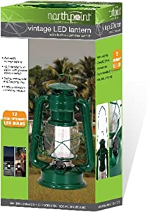 Northpoint LED Lantern, 12-LED 150-Lumen Lantern, Fresh Pine Indoor Outdoor Lantern, Home Decor Vintage Lantern, Battery Operated Hanging or Tabletop Hurricane Lantern