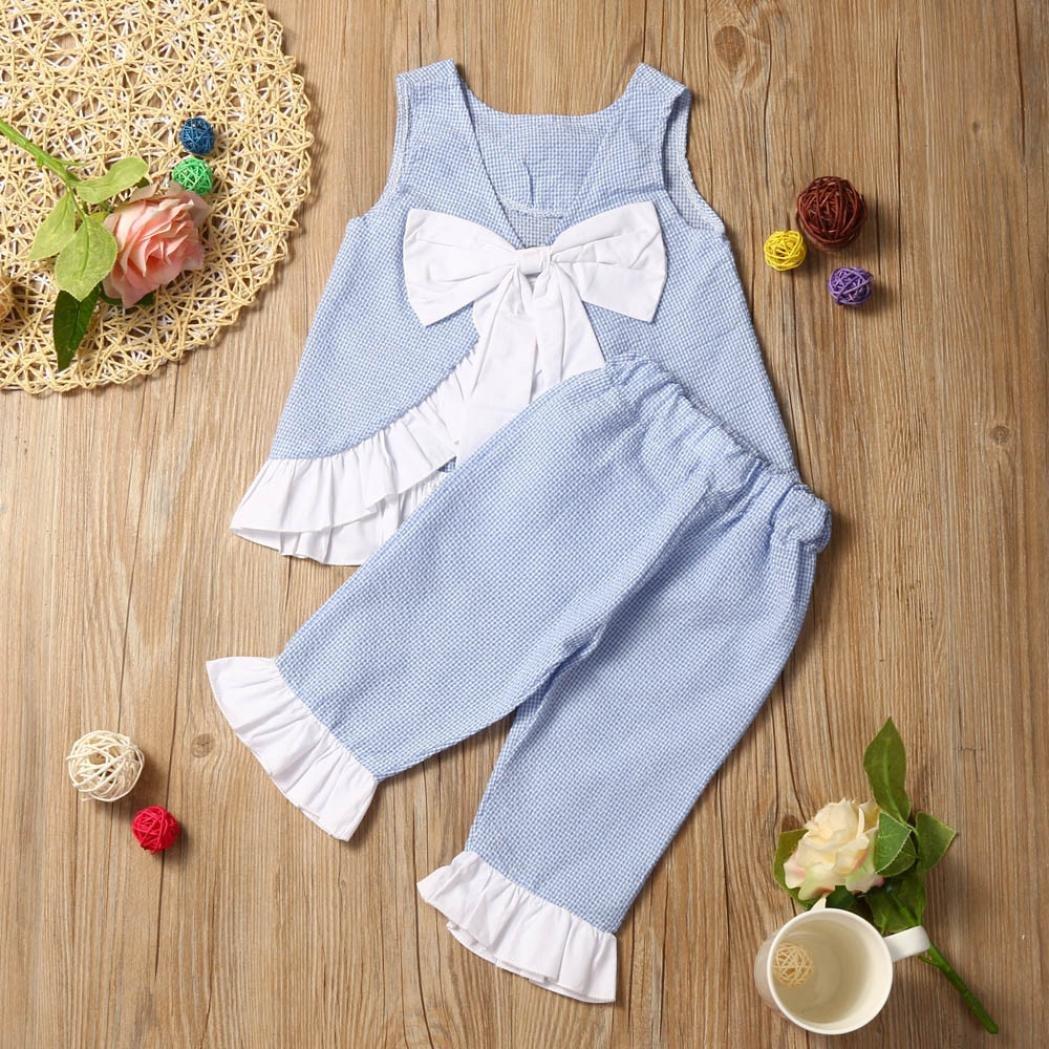 37cd429ce7 Amazon.com  WensLTD 2PCS Kids Baby Girls Cute Bow Vest Top + Shorts Pants  Clothes Outfits (12M
