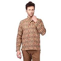 LDHSATI Men's Cotton Om Printed Full Sleeves Short Kurta