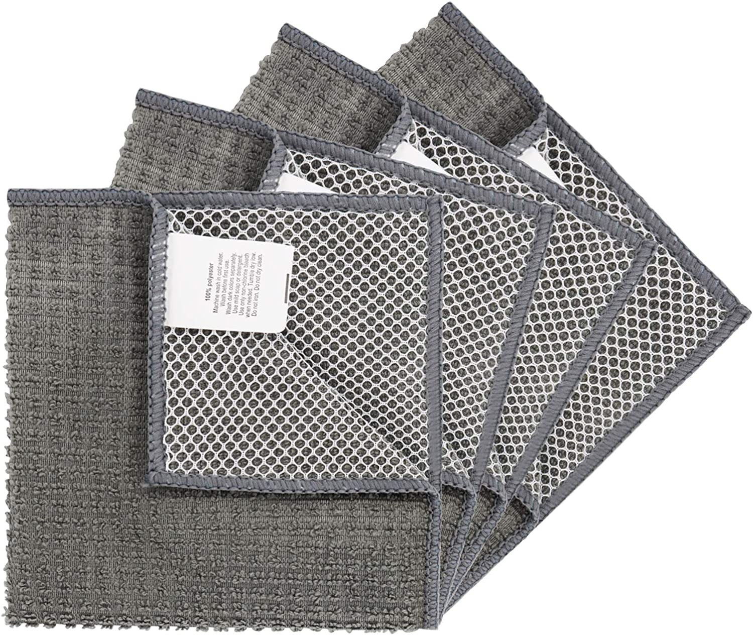 Microfiber Dish Cloths High Absorbent Dish Rags for Kitchen Cleaning Wash Cloth Towels with Scrub Side, Lint Free, Fast Drying (Gray-4pack, 12inch x 12inch)