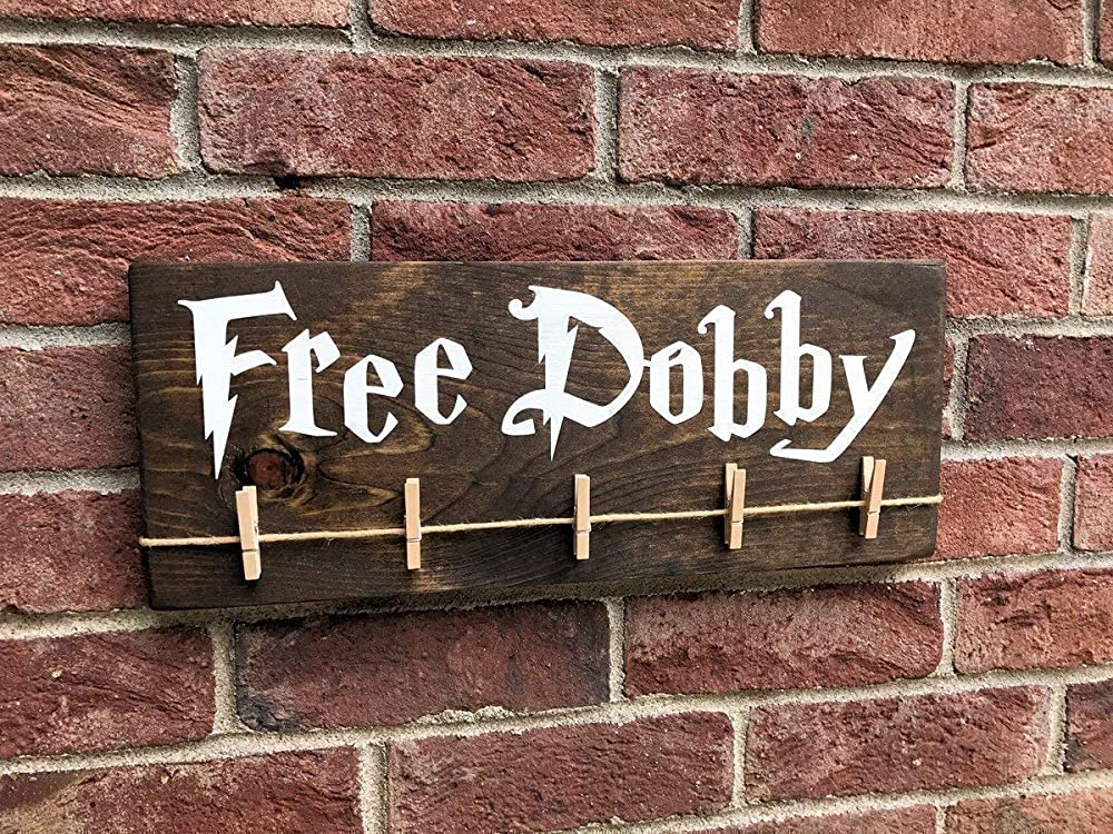 Free Dobby Wood Sign/House Elf Laundry Room Sock Hanger/Save Dobby/Donate Single Socks/Lost Socks/Handmade Laundry Sign