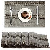 HOKIPO® PVC Vinyl Heat Resistant Placemats Set of 6 Dining Table Mats 45x30 cm, Multicolor (AR2154)