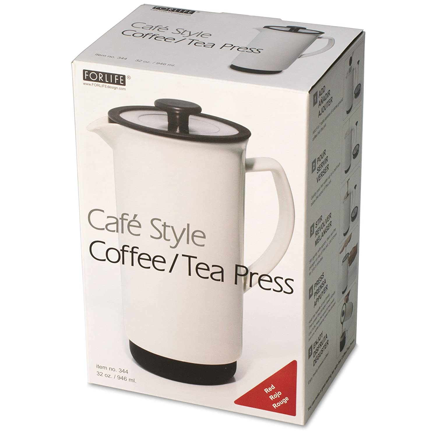 Amazon.com: FORLIFE Cafe Style Coffee/Tea Press, 32-Ounce, Gray: Kitchen & Dining