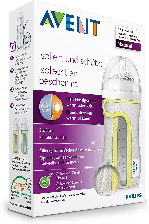 Funda para biber/ón de cristal 120 ml mantiene los l/íquidos calientes o fr/íos lavable a 40 /°C Philips Avent SCF675//01
