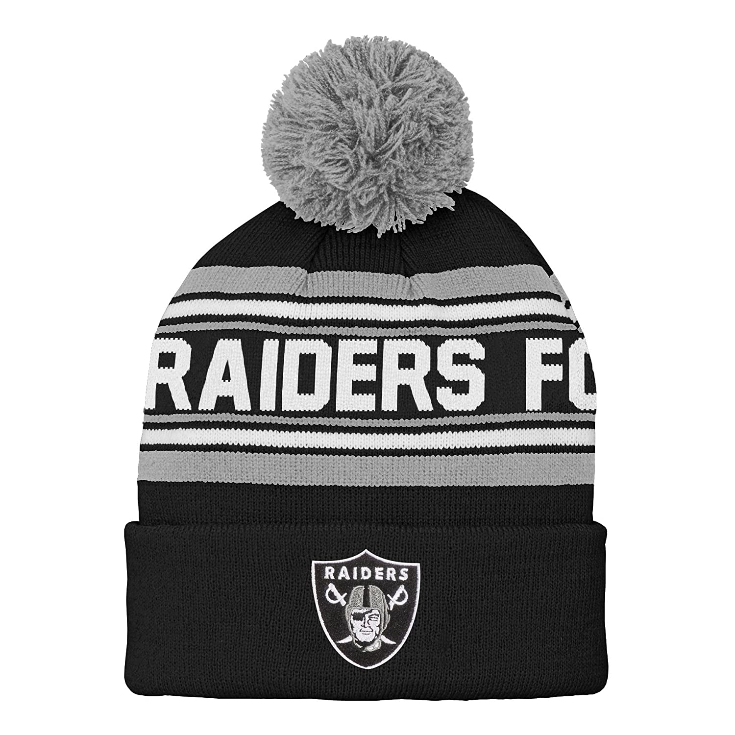 low priced a3444 c6122 Amazon.com   Outerstuff NFL Boys Oakland Raiders Kids   Youth Boys Jacquard  Cuffed Knit Hat with Pom   Sports   Outdoors