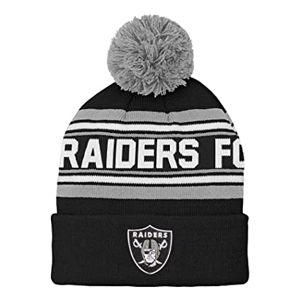 timeless design 26dc8 4da80 Outerstuff NFL Oakland Raiders Kids   Youth Boys Jacquard Cuffed Knit Hat  with Pom Black,