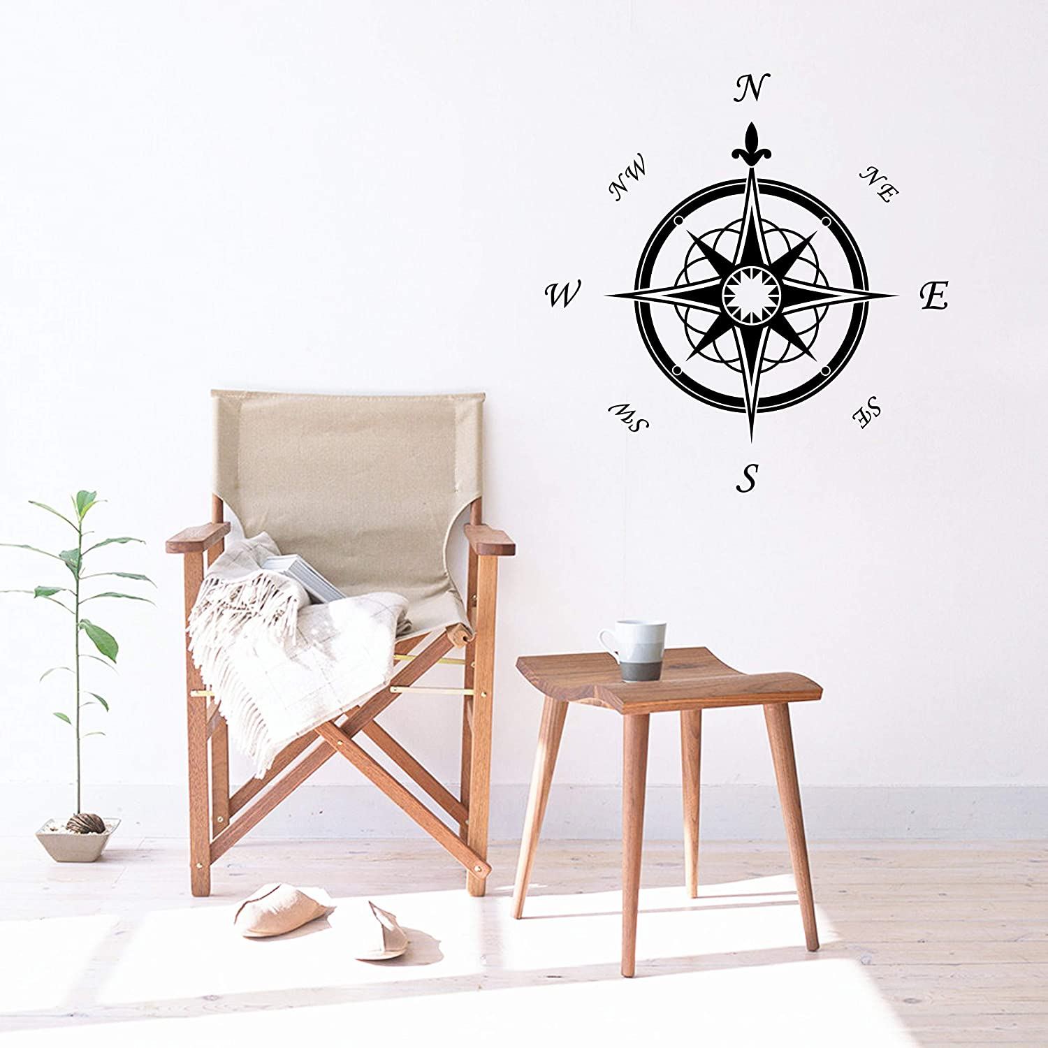 Compass Rose Vinyl Wall Decal, Marine Theme Removable Wall Stickers for Bedroom Living Room School Office, Home Decor Wall Sticker, Nursery Decor Y02 (Black(50x50cm))