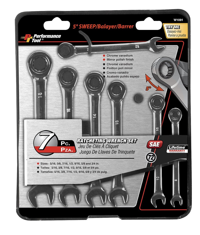 7-Piece Wilmar Corporation Performance Tool W1092 Metric Ratcheting Wrench Set