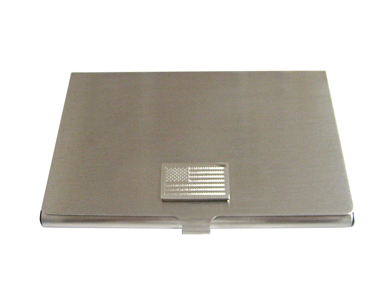 Silver Toned Etched USA American Flagビジネスカードホルダー   B01JFNX6U8