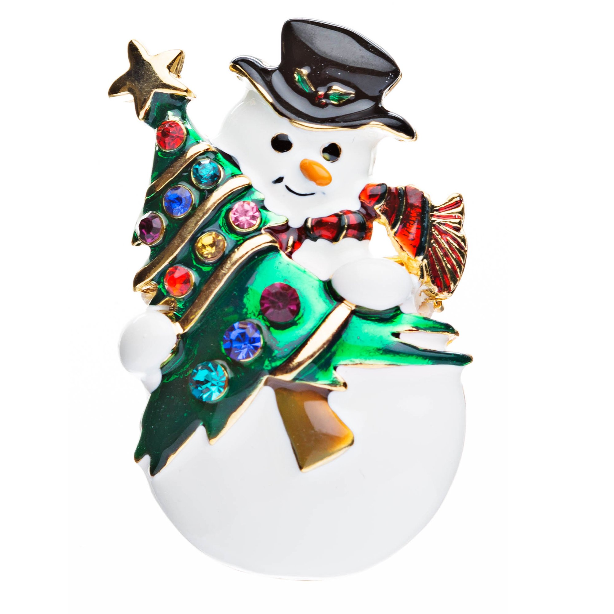 ACCESSORIESFOREVER Christmas Jewelry Crystal Rhinestone Cute Penguin Hat Brooch Pin BH67