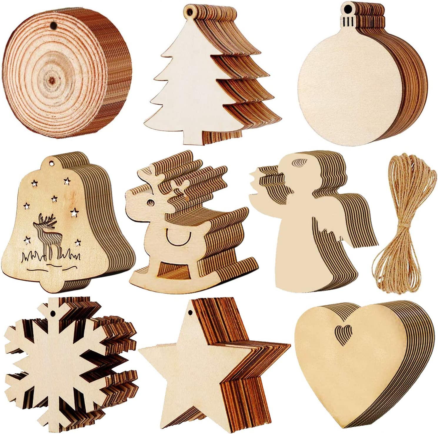 PartyYeah 90Pack Christmas Wooden Round Baubles Hemp Ropes, Wood Slices with Twines, 3.15inch Xmas Ornaments Ideal for Christmas Tree Hanging Decor& Art Crafts DIY Gift
