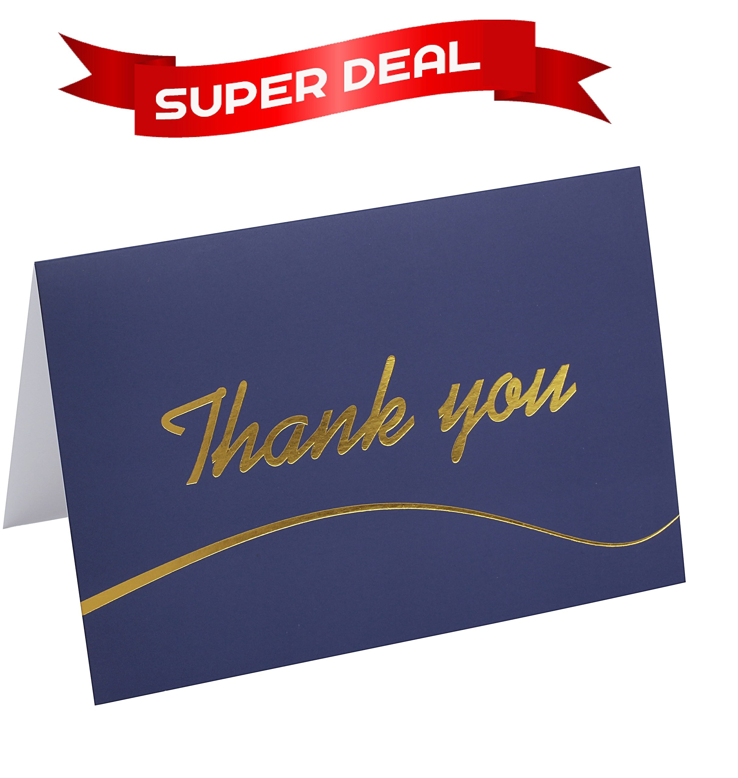 110 Elegant Thank You Cards in Blue with Envelopes and Stickers - Bulk Notes Embossed with Gold Foil Letters for Weddings, Graduations, Engagements, Business, Formal, Baby Showers, 4x6 in a Sturdy Box