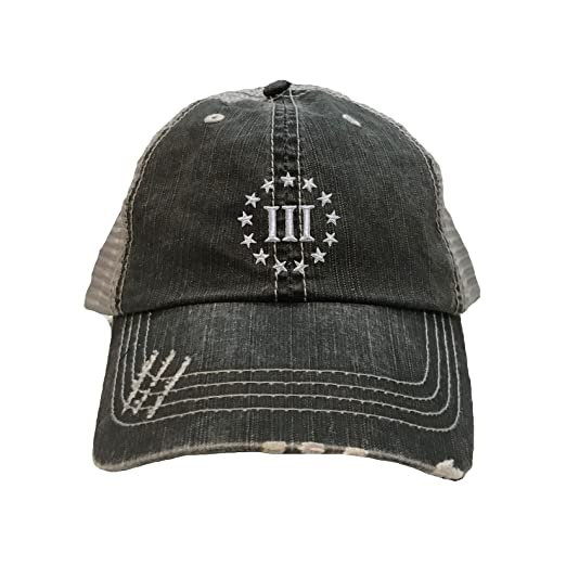 4a62f8439 Go All Out Adult 3 Percenter III Embroidered Distressed Trucker Cap