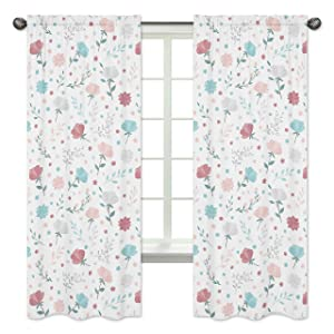 Sweet Jojo Designs Floral Rose Flowers Window Treatment Panels Curtains - Set of 2 - Blush Pink Teal Turquoise Aqua Blue Grey Pop Flower Boho Shabby Chic Modern Colorful Watercolor Wildflower Roses