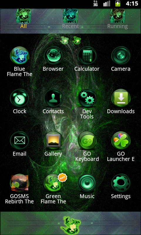 amazon com green flame go theme appstore for android