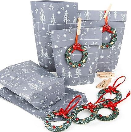 Sacchetti regalo grigio argento bianco confezione Natale sacchetto