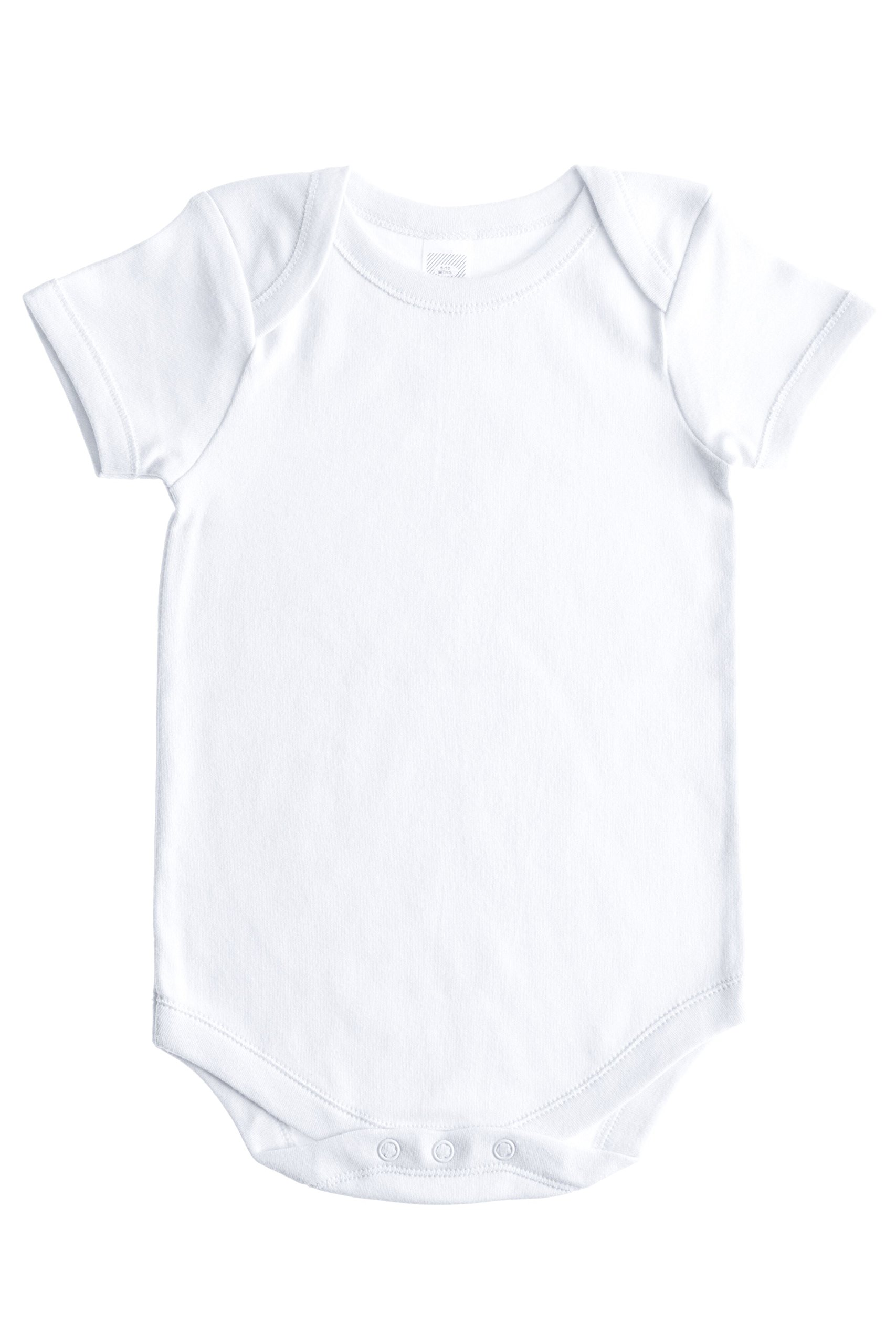 Baby Jay Soft Cotton Onesies, Short Sleeve Lap Shoulder Bodysuit, WSSE White 6-12 5-Pack by Baby Jay (Image #2)