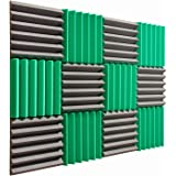 "Pro Studio Acoustics - 12""x12""x2"" Acoustic Wedge Foam Absorption Soundproofing Tiles - Green/Charcoal - 12 Pack"