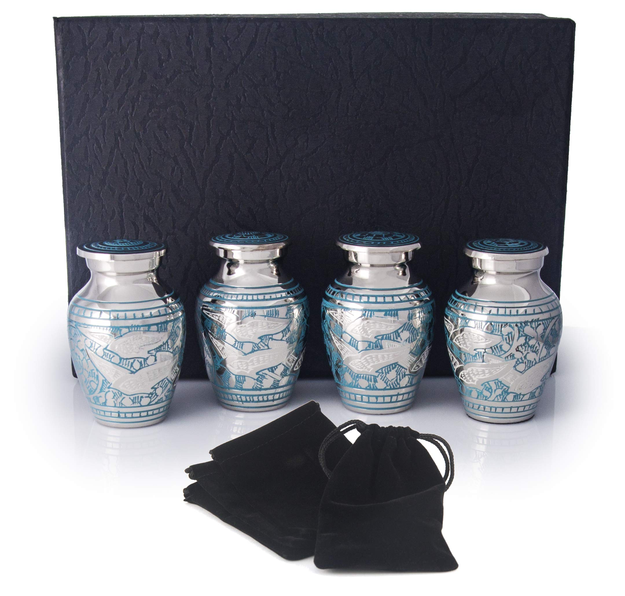 Small Cremation Urns for Human Ashes by Adera Dreams - White Wings Keepsake Urn Set of 4 - with Premium Case and Velvet Carrying Pouches - Miniature Memorial Funeral Urns for Sharing Ashes