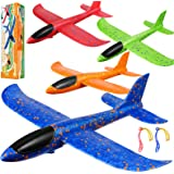 iBaseToy Foam Airplanes for Kids - Airplane Toys, Throwing Glider Plane Styrofoam Airplanes for Kids, Gifts for 3 4 5 6 7 8 9