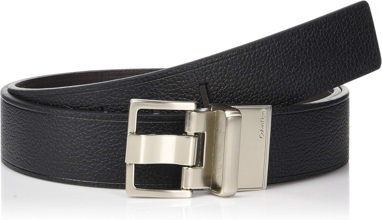 Calvin Klein hombres de 38mm Reversible plana correa cinturón con calor arrugas