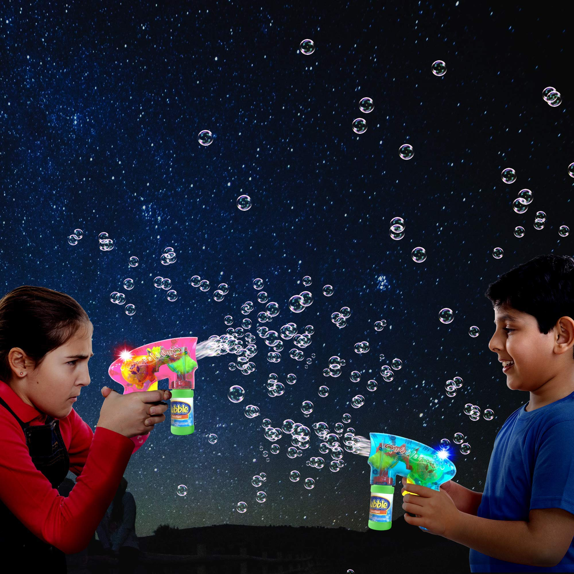 ArtCreativity Friction Powered Light Up Bubble Blaster Set (Set of 3) | Includes 3 LED Bubbles Guns & 6 Bottles of Bubble Fluid | Outdoor, Indoor Fun | Gift Idea, Party Activity | No Batteries Needed by ArtCreativity (Image #6)