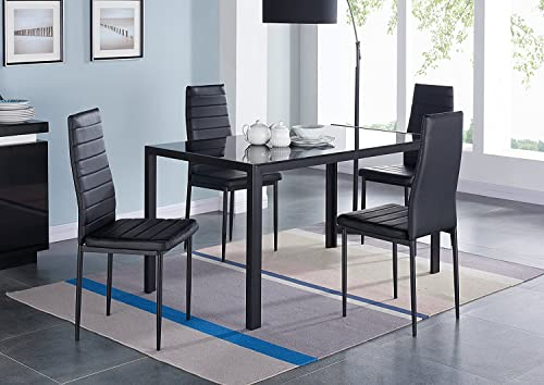 EBS 5 Piece Kitchen Dining Table Set with Glass Table Top, Leather Padded 4 Chairs and Metal Frame Table for Dining Room Kitchen Furniture, Black