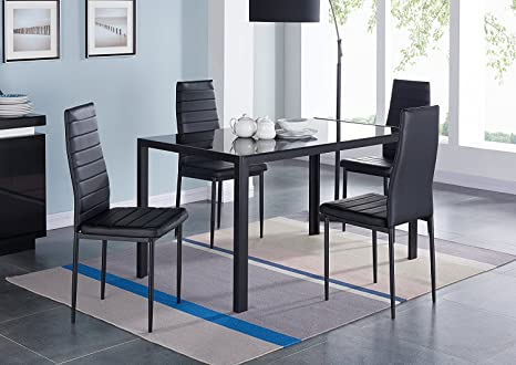 Fabulous Ebs 5 Piece Kitchen Dining Table Set With Glass Table Top Leather Padded 4 Chairs And Metal Frame Table For Dining Room Kitchen Furniture Black Onthecornerstone Fun Painted Chair Ideas Images Onthecornerstoneorg