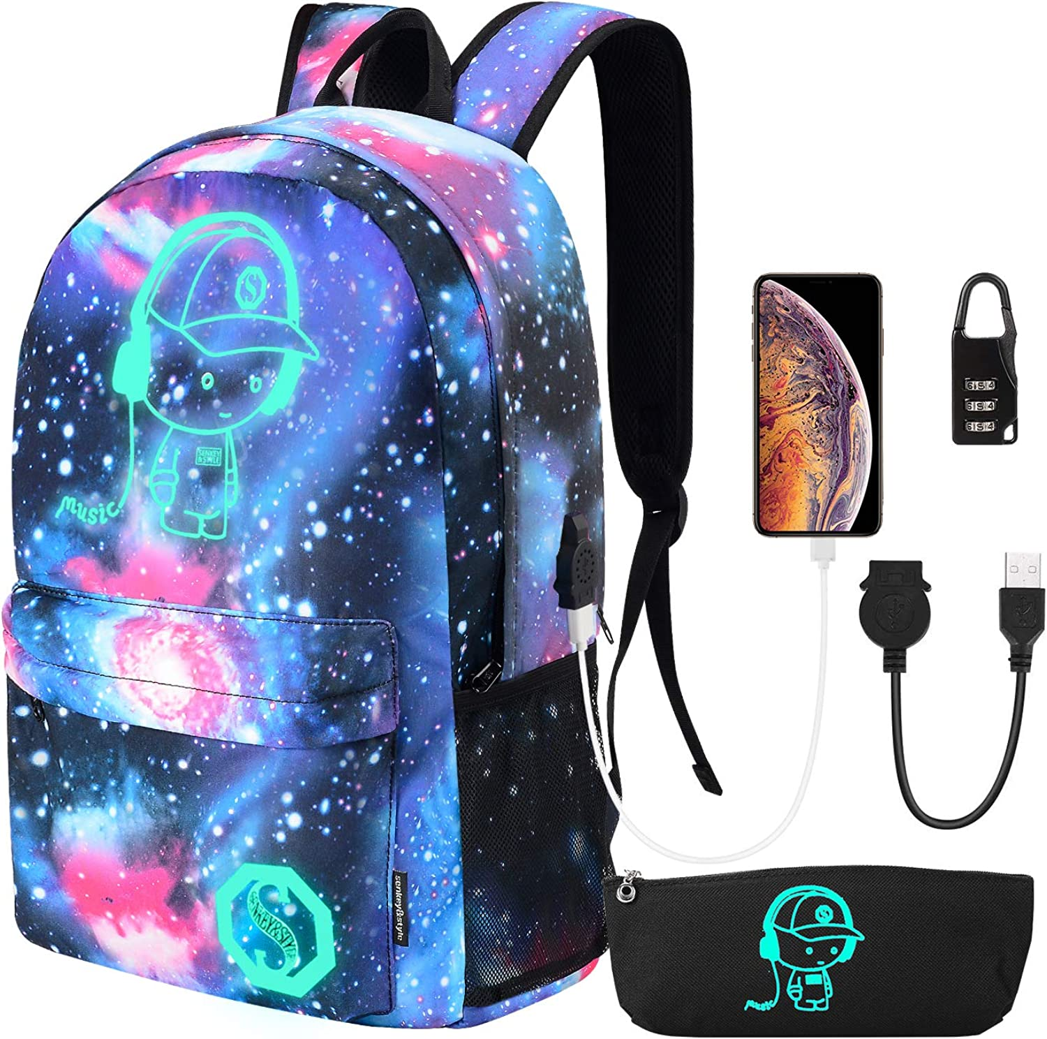 Galaxy Backpack for School, Anime Luminous Backpack with USB Charging Port and Lock & Pencil Case, Lightweight Travel Anti-Theft Laptop Backpack for Boys/Girls, Sky Blue, Galaxy Backpack
