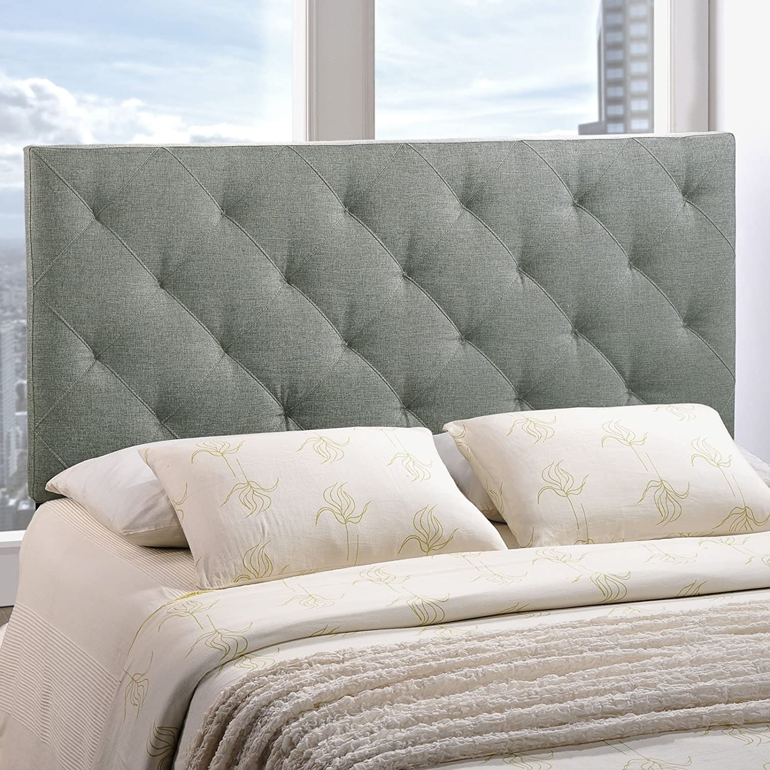 amazoncom  modway theodore upholstered fabric tufted headboard in grayqueen size . amazoncom  modway theodore upholstered fabric tufted headboard