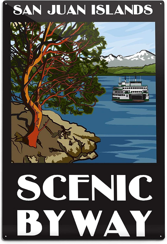 Lantern Press San Juan Islands Scenic Byway, Washington, Official Logo (12x18 Aluminum Wall Sign, Wall Decor Ready to Hang)