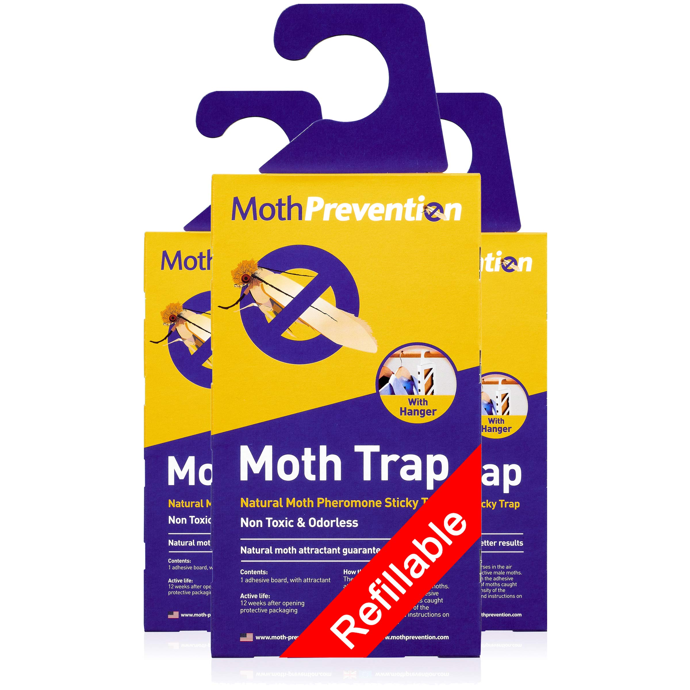 Powerful Moth Traps for Clothes Moths | 3-Pack | Refillable, Odor-Free & Natural from MothPrevention | Best Catch-Rate for Clothes Moth and Carpet Moth Traps on The Market! - Results Guaranteed by West Bay Retail