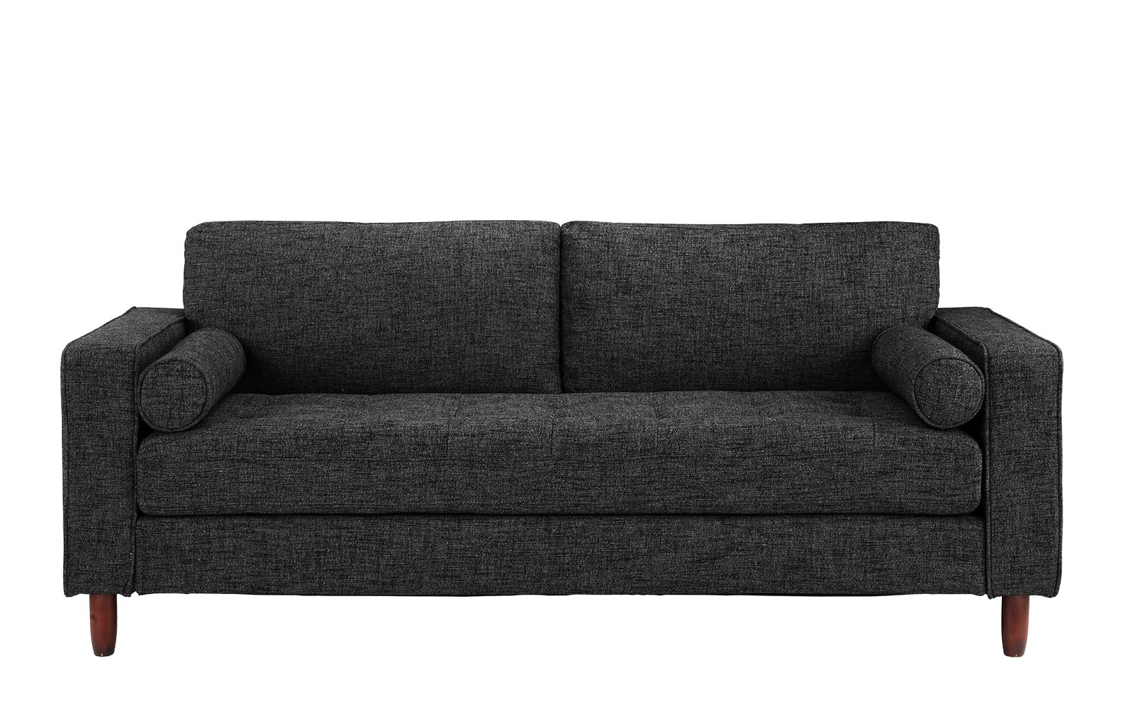 Divano Roma Modern Sofas, Dark Grey - Divano Roma Furniture's upholstered sofa with armrests comes in soft and bright color variances Features hand picked soft and durable linen fabric upholstery with dark brown wooden legs Firmly padded cushions that use high density foam for added comfort - sofas-couches, living-room-furniture, living-room - 81cvwNycLuL -