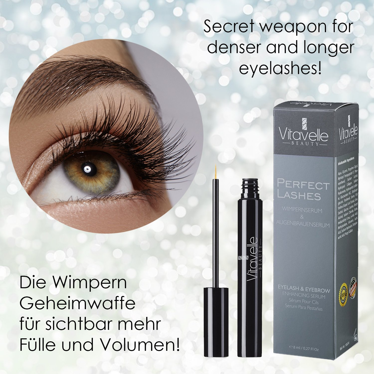 56d220cd3be Perfect Lashes Eyelash-Serum 8 ml. without Prostaglandin | Eyelash Growth  Serum | eyelashes + eyebrows care | Eyelash Enhancer | Eyelash-Booster |  Eyelash ...